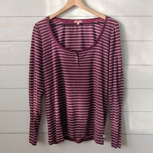 Juicy Couture Scoop Neck Striped Henley XL